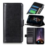 Crazy Horse Skin Leather Wallet Stand Case for Realme C11 – Black