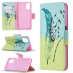 Pattern Printing Leather Wallet Case for OPPO A72/A52/A92 – Feather Pattern