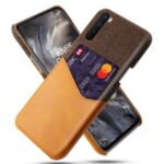 KSQ Card Holder Cloth + PU Leather Coated PC Cell Phone Shell for OnePlus Nord – Brown