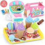 Kids Pretend Play Supermarket Cash Register Set Vegetables Ice cream Shopping Kitchen Toys Kits – Pink