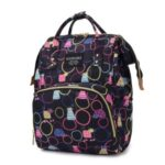 Diaper Backpack Cartoon Pattern Baby Nappy Backpack Large Multifunctional Diaper Bag Mommy Maternity Bag – Black/Circle