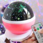 Romantic Music Night Light Night Lamp Starry Sky Pattern Rotatory LED Light – Pink