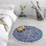 Handwork 90cm Round Carpet Retro Linen Floor Mat Carpet Bedroom Sofa Cushion – Blue