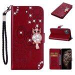 Owl Imprint Rhinestone Decor Leather Phone Case for iPhone 12 Pro Max 6.7 inch – Red