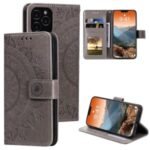 Imprinted Mandala Flower Wallet Leather Flip Cover with Strap for iPhone 12 Pro Max 6.7 inch – Grey
