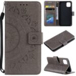 Imprinted Mandala Flower Wallet Leather Flip Cover with Lanyard for iPhone 12 5.4 inch – Grey