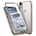 Magnetic Installation Metal Frame + Tempered Glass Full Covering Phone Cover for iPhone XR 6.1 inch – Gold