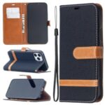 Color Splicing Jeans Cloth Texture Leather Shell for iPhone 12 Max/12 Pro 6.1 inch – Black