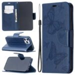 Imprint Butterfly with Wallet Leather Stand Case for iPhone 12 Max/12 Pro 6.1 inch – Blue