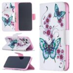 Pattern Printing Case Wallet Stand Leather Cover Protector for iPhone 12 Pro Max 6.7 inch – Flowers and Butterflies