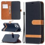 Solid Color Jeans Cloth Texture Leather with Wallet Case for iPhone 12 Pro Max 6.7 inch – Black