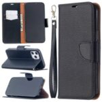 Litchi Surface with Wallet Leather Stand Case for iPhone 12 Pro Max 6.7-inch – Black