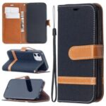 Color Splicing Jeans Cloth Skin Wallet Leather Phone Shell for iPhone 12 5.4 inch – Black