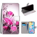 Printing Skin Leather with Wallet Cover with Strap for iPhone 12 Pro/12 Max 6.1 inch – Flower