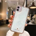 IMD Design Marble Pattern TPU Protector Phone Case for iPhone 12 5.4 inch – White
