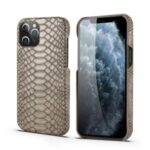 Snake Surface PU Leather Coated PC Shell for iPhone 12 Pro Max 6.7 inch – Grey
