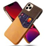 KSQ Cloth + PU Leather + PC Cover Cell Phone Case for iPhone 12 5.4 inch – Brown