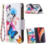 BF03 Pattern Printing Zipper Wallet Leather Phone Shell for iPhone 12 Pro/12 Max 6.1 inch – Blue and White Butterfly