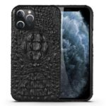 Crocodile Head Texture Genuine Leather Coated Plastic Phone Case for iPhone 12 Pro Max 6.7-inch – Black