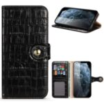 Crocodile Skin Wallet Stand Leather Phone Cover Case for iPhone 12 Pro Max 6.7-inch – Black