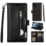 Multi-function Slots Leather Wallet Unique Case for iPhone 12 5.4 inch – Black