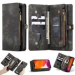 CASEME 008 Series Multi-functional 2-in-1 Zipper Wallet Split Leather Case for iPhone 12 Pro Max 6.7-inch – Black