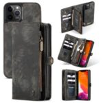 CASEME 018 Series Matte Skin Leather Wallet 2-in-1 Case for iPhone 12 Pro Max 6.7-inch – Black