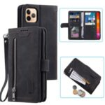 Leather Wallet Zipper Pocket 9 Card Slots Case Cover for iPhone 12 Pro Max 6.7-inch – Black