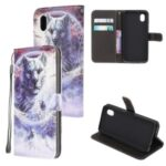 Pattern Printing Cross Texture Leather Wallet Case for Samsung Galaxy A01 Core – Wolf