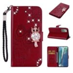 Rhinestone Decor Imprint Owl Flower Leather Wallet Stand Case for Samsung Galaxy Note 20 5G / Galaxy Note 20 – Red