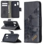 Crocodile Skin Assorted Color Leather Wallet Phone Cover for 	Samsung Galaxy A20e / Galaxy A10e – Black