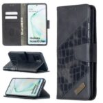 Crocodile Skin Assorted Color Leather Wallet Phone Cover for Samsung Galaxy A81 / Note 10 Lite – Black