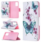Pattern Printing Wallet Stand Leather Cell Phone Cover for Samsung Galaxy Note 20/Note 20 5G – Butterfly and Flower
