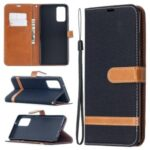 Color Splicing Jeans Cloth Skin Leather Shell for Samsung Galaxy Note 20/Note 20 5G – Black