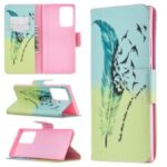 Pattern Printing Magnetic Leather Cover for Samsung Galaxy Note20 Ultra/Note20 Ultra 5G – Feather Pattern