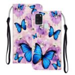 Embossed Patterned Wallet Flip Leather Case with Strap for Samsung Galaxy A21s – Blue Butterflies
