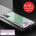 Leshield Series Metal Frame+Tempered Glass Phone Case for Samsung Galaxy Note 20 5G / Galaxy Note 20 – Pink