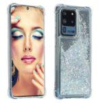 Glitter Powder Quicksand Rhinestone Decor Kickstand TPU Phone Cover for Samsung Galaxy S20 Ultra – Silver