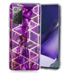 Marble Pattern Rose Gold Electroplating IMD TPU Case for Samsung Galaxy Note 20 5G / Galaxy Note 20 – Purple
