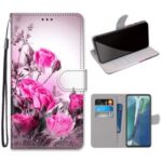 Pattern Printing Cross Texture Leather Wallet Phone Shell with Strap for Samsung Galaxy Note 20/Note 20 5G – Rose