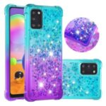 Shockproof Gradient Glitter Powder Quicksand TPU Back Cover for Samsung Galaxy A31 – Cyan / Purple