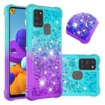 Shockproof Gradient Quicksand TPU Protector Case for Samsung Galaxy A21s – Cyan / Purple