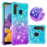 Shockproof Gradient Quicksand TPU Protector Cover for Samsung Galaxy A21 (US Version) – Cyan / Purple