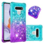 Shockproof Gradient Quicksand TPU Protector Shell for LG Stylo 6 – Cyan / Purple