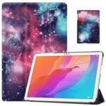 Pattern Printing PU Leather Tri-fold Stand Tablet Case for Huawei Enjoy Tablet 2 10.1/Honor Tablet 6 10.1 – Cosmic Space
