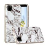 Marble Pattern Printing IMD TPU Mobile Phone Shell for Huawei Y5p – White/Black