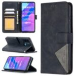 BF05 Leather Case Geometric Texture Wallet Stand Protector for Honor 9A – Black