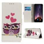 Pattern Printing Wallet Stand Leather Cover for Huawei Mate 40 – Owls and Hearts