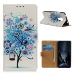 Pattern Printing Protector PU Leather Wallet Stand Phone Shell for Motorola Moto G9 Play – Blue Tree