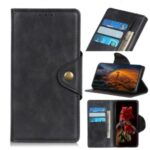 Brass Buckle Wallet Leather Cover Stand Phone Case for Xiaomi Mi 10 Ultra – Black